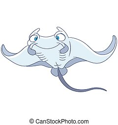 cute cramp-fish - cute and funny cramp-fish is swimming...