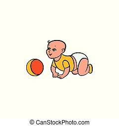 Cute crawling baby, kid, infant, child in diaper