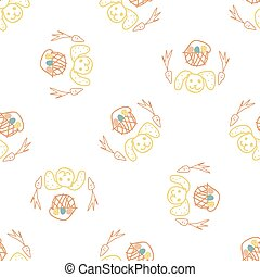 Cute crayon scribble easter bunny kid doodle background. Hand drawn earthy whimsical motif seamless pattern. Naive simple character cartoon for minimal baby nursery decor. Neutral scandi style unisex