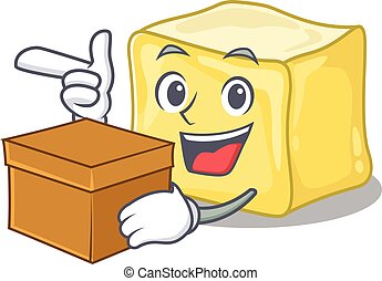 Cute creamy butter cartoon character having a box