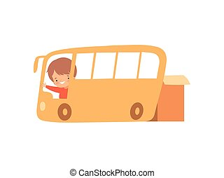 Cute Creative Boy Character Driving Bus Made of Cardboard Boxes Cartoon Vector Illustration