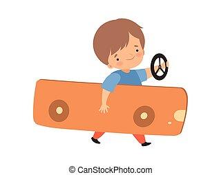 Cute Creative Boy Character Driving Toy Car Made of Cardboard Box Cartoon Vector Illustration