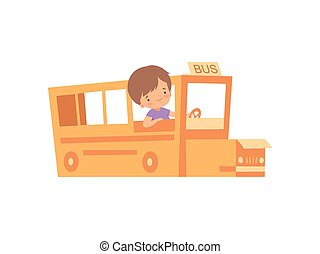 Cute Creative Boy Character Playing Bus Made of Cardboard Boxes Cartoon Vector Illustration