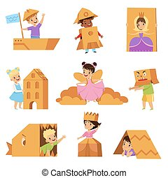 Cute creative kids playing toys and costumes made of cardboard boxes set vector Illustrations on a white background