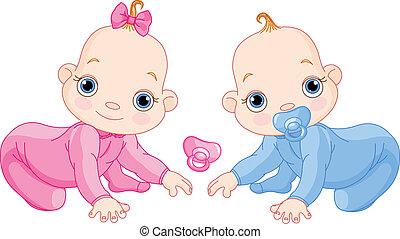 Cute creeping twins
