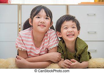 cute, criança asiática
