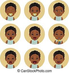 cute, criança, jogo, emoticons., africano, smiley., expressions., americano, pretas, facial, pele, bebê bebê, afro