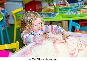 cute, criança, menina, desenho, delinear, desenvolvendo,...