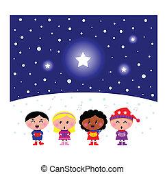 cute, crianças, canção, multicultural, carol, cantando, natal