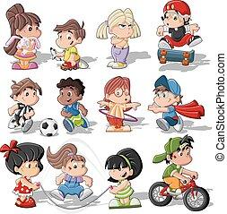cute, crianças, caricatura, tocando