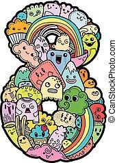 cute, crianças, doodled, mão, numbers., números, symbols., desenhado, monstred, matemática