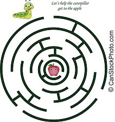 cute, crianças, maçã, lagarta, labirinto, caricatura