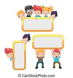 cute, crianças, quadro, vetorial, borda, caricatura