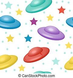 cute, crianças, ufo, illustration., padrão, seamless, experiência., vetorial, infinito