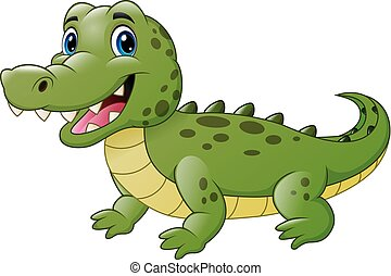 Cute crocodile cartoon isolated on white background