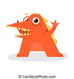Cute Crocodile Halloween Monster With Big Curve Mouth Flat Design