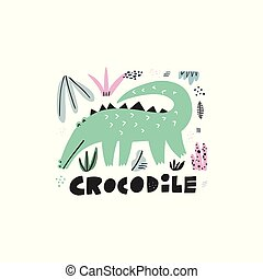 Cute crocodile hand drawn vector illustration