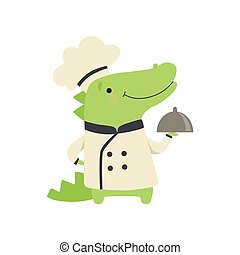 Cute crocodile in chef uniform holding silver cloche, cartoon animal character cooking vector Illustration on a white background