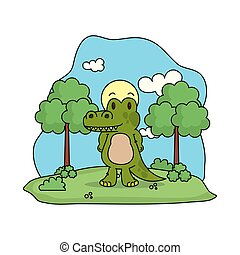cute crocodile in the landscape
