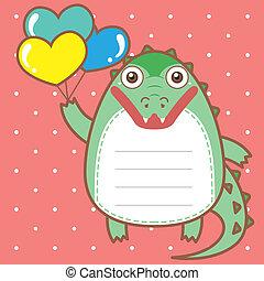 cute crocodile of scrapbook background.