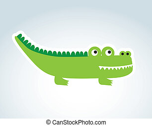 cute crocodile over blue background vector illustration