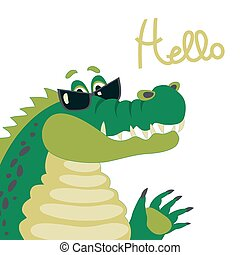 Cute crocodile says hello - Vector cartoon character, cute...