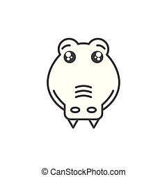 cute crocodile wild animal line style icon