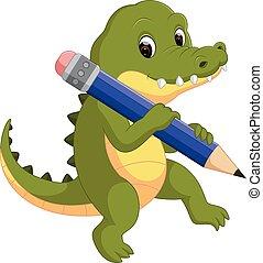 cute, crocodilo, segurando, lápis