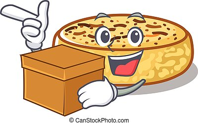 Cute crumpets cartoon character having a box