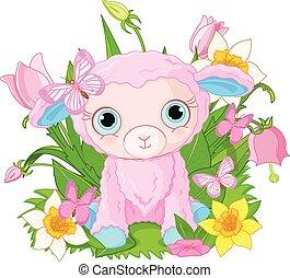 Cute cub sheep - Illustration of beautiful princess holds...