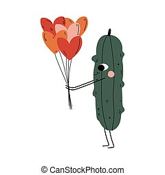 Cute Cucumber Standing amd Holding Balloons in Shape of Hearts, Cheerful Vegetable Character with Funny Face Vector Illustration