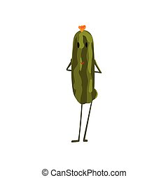 Cute Cucumber Vegetable Character with Funny Face Vector Illustration