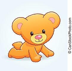 cute cuddly teddy bear crawling vector