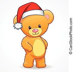 cute cuddly teddy bear with santa hat vector