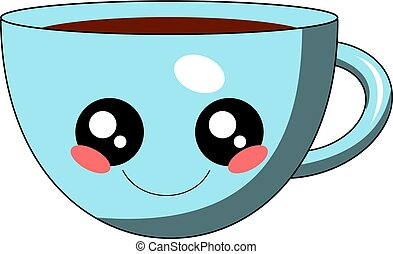 Cute cup of coffee kawaii face vector illustration design isolated
