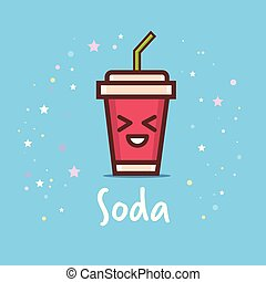 cute cup of soda cartoon comic character with smiling face happy emoji kawaii style fresh drink concept