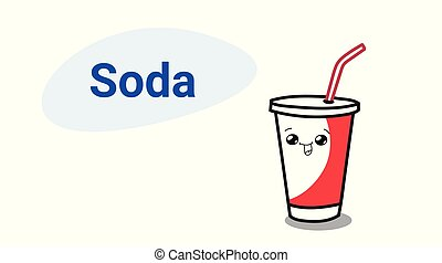 cute cup of soda cartoon comic character with smiling face kawaii hand drawn style fresh drink concept horizontal