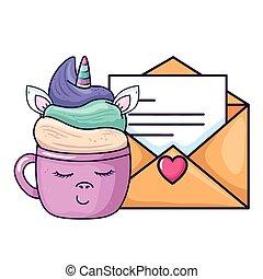 cute cup unicorn kawaii with envelope