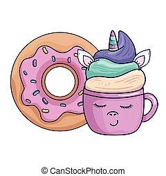 cute cup unicorn with donut kawaii style