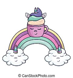 cute cup unicorn with rainbow and clouds kawaii style icon
