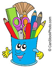 Cute cup with crayons - isolated illustration.