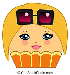 Cute Cupcake Cartoon Couture Blonde - Illustration of a...