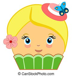 Cute Cupcake Cartoon Couture Green - Illustration of a...