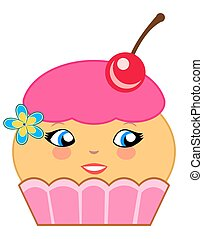 Cute Cupcake Cartoon Couture Pink - Illustration of a...