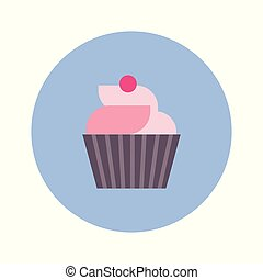 Cute Cupcake Icon On Blue Round Background Isolated