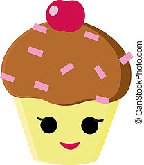 Cute cupcake, illustration, vector on white background.