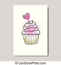 Cute Cupcake On Valentine Day Greeting Card Doodle Design Sketch Love Postcard