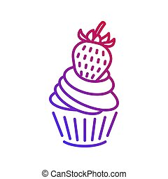 Cute cupcake with a strawberry icon in trendy violet color gradient. isolated on white background. Vector illustration.