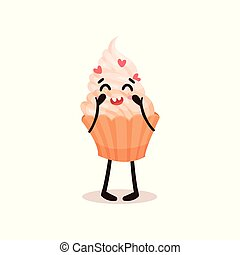 Cute cupcake with funny face, humanized dessert cartoon character vector Illustration on a white background