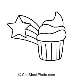 cute cupcake with shooting star line style